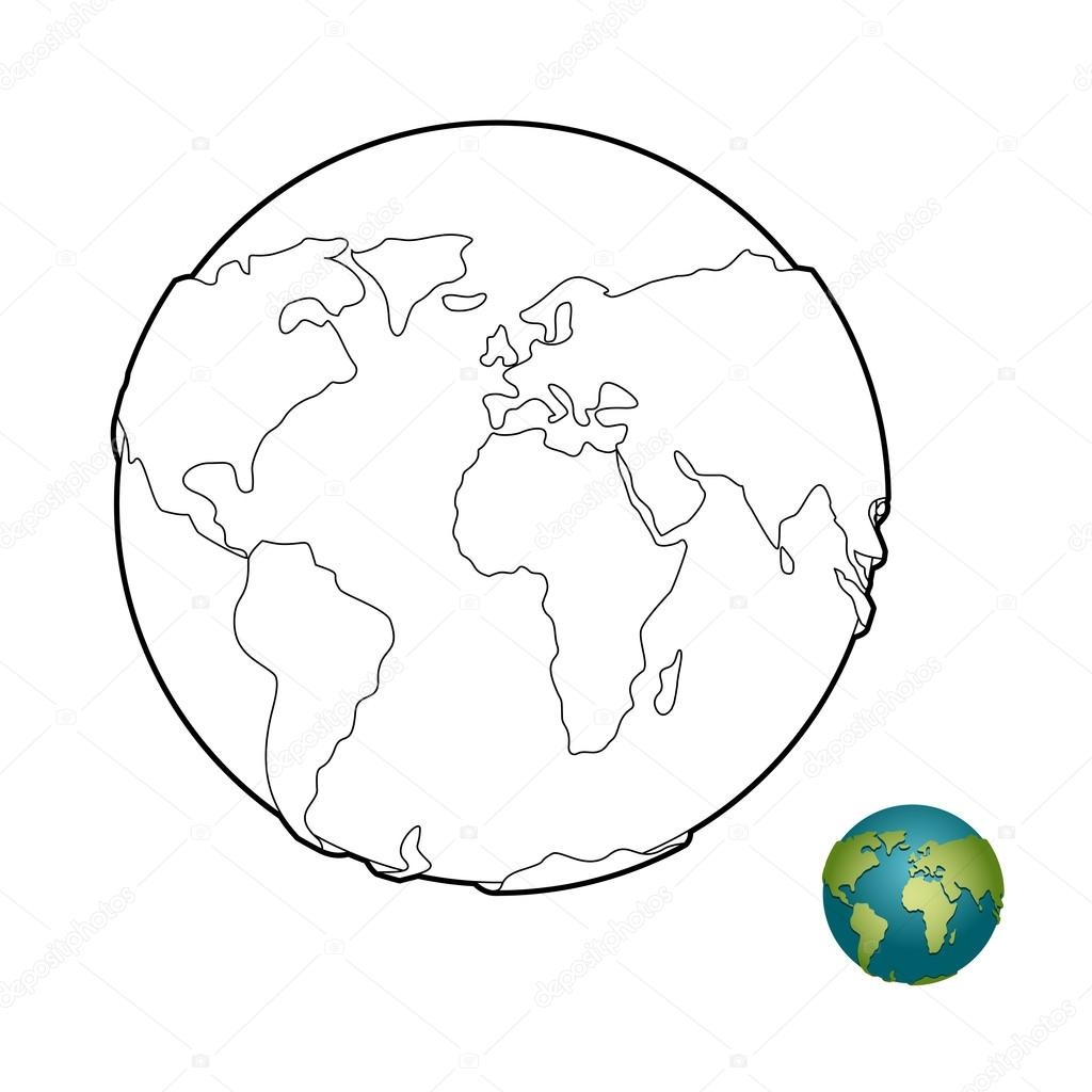 Dünya Boyama Kitabı Gökcismi Gezegen Mainlands Küre Stok Vektör
