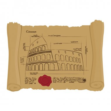 Drawing of Colosseum at Ancient scroll. Retro Scheme of ancient