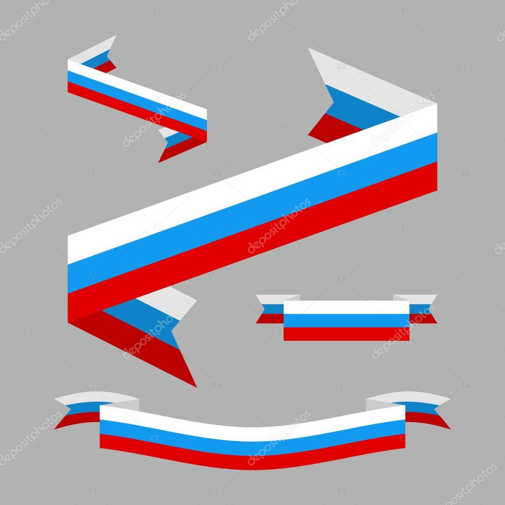 Tape flag of Russia. Design elements. Patriotic Ribbon triklor R