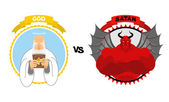 Fényképek God vs Satan. Good grandfather with white beard and Halo above h