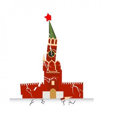 Moscow Kremlin destruction. Earth-fault earthquake. Destruction