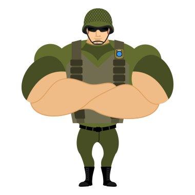 Soldiers in flak vest. Military helmet. Powerful soldiers in pro