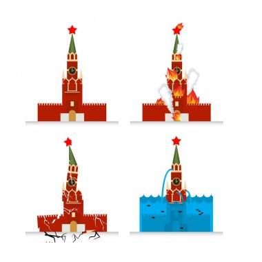 Destruction of Moscow Kremlin. Meteorite flies symbol of Russia.