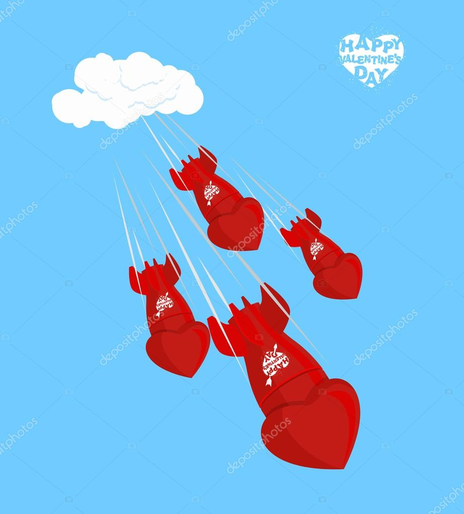 Love bomb fly to land on February 14. Valentines day. Shells, ch