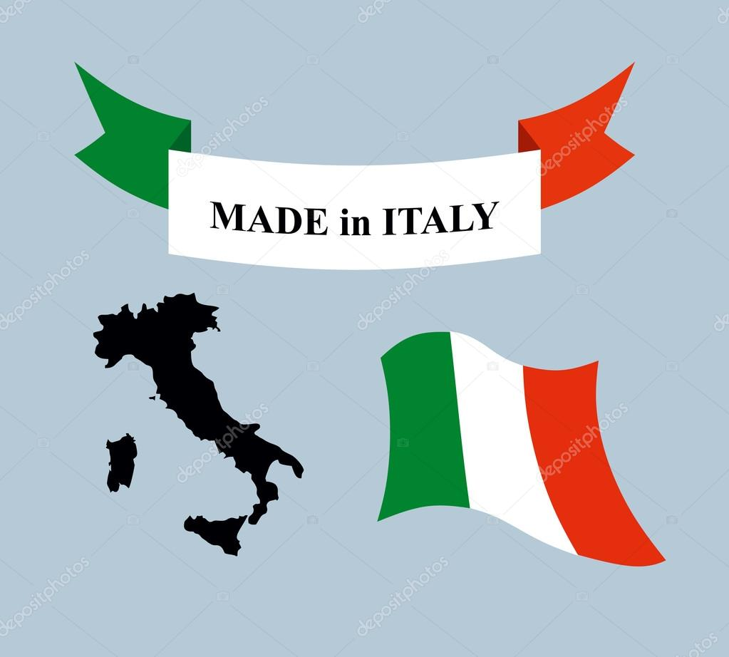 Set template for Italy. Map of Italy. Ribbon made in Italy. Logo