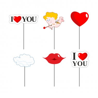 Valentines day photo props . Paper elements of love for photo shoot. February 14 lovers day. I love you. Lips and cloud. Cupid and kiss. Big red heart stock vector