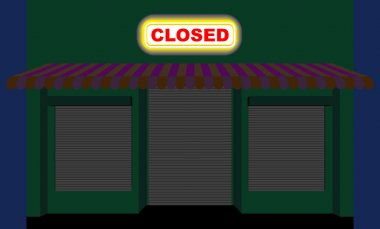 Convenience store. Shop at night. Plate is closed. Closed showca