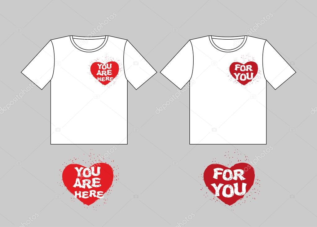 For you heart. You are here-in heart. Logo for t-shirts. Sign fo