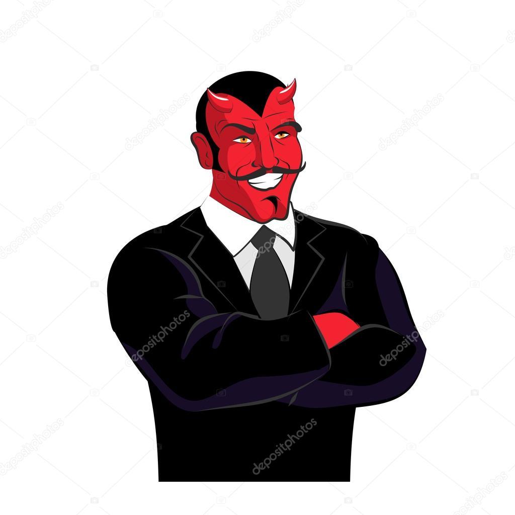 Diablo en traje negro. Empresario de Satanás. Rojo lucifer ingenio ...