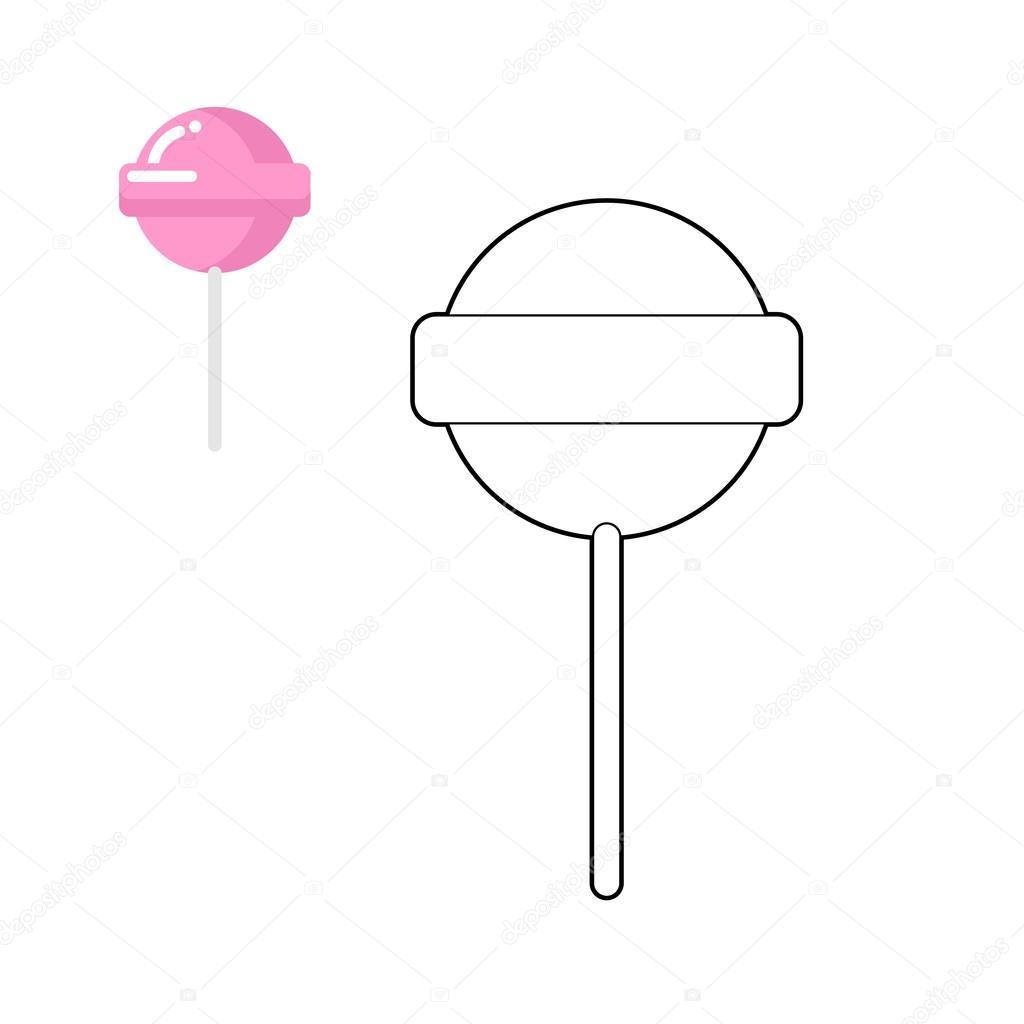 Lollipop Malbuch. Rosa Runde Süßigkeiten für Kinder. Süße st ...
