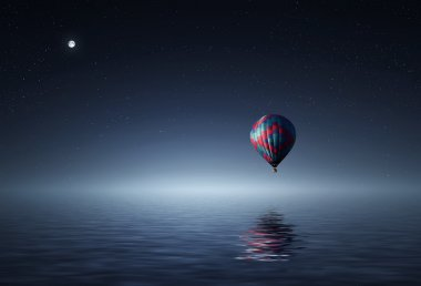 Air balloon flying over  water