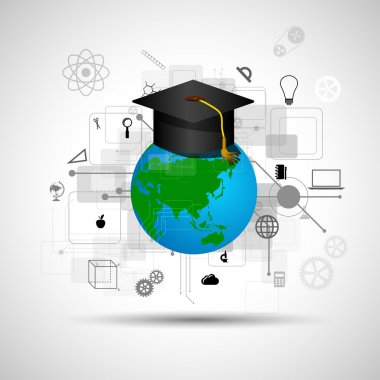Online learning icons in flat style