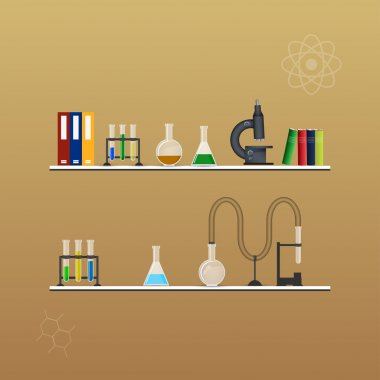 Chemistry infographic conical flasks and beakers