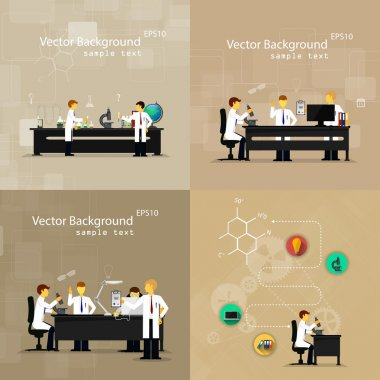 Vector illustrations of scientists in laboratories conducting research stock vector