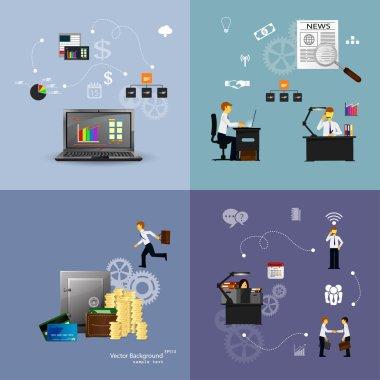 Illustration of teamwork set