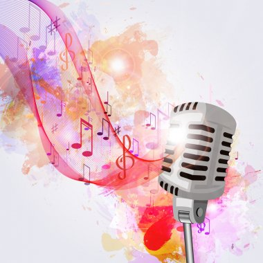 old microphone and musical notes