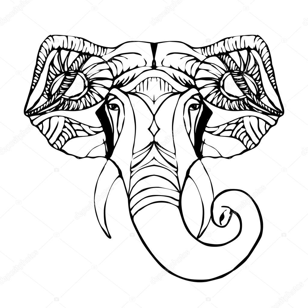 9ad23aea3a156 Mano dibuja la cabeza del elefante. Dios indio Señor Dios hindú Ganesha -  elefantes hindú blanco y negro — Vector de ponomarenko — Vector de ...