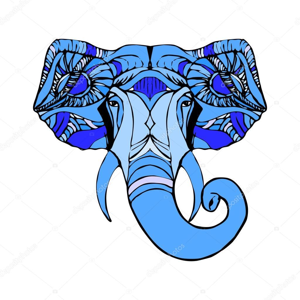 d6af7adbbaf9f Mano dibuja la cabeza del elefante. Dios indio Señor Dios hindú Ganesha -  elefante hindu ganesha dibujo — Vector de ponomarenko — Vector de ...