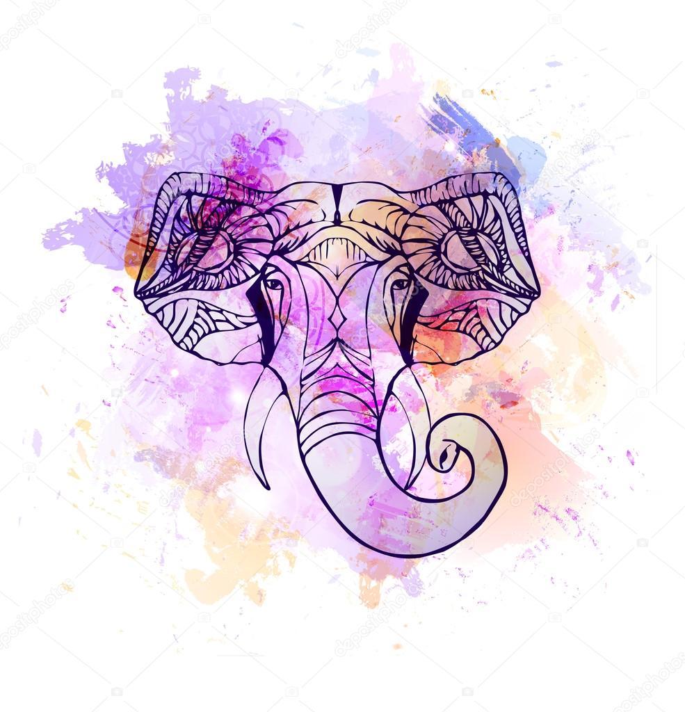 7bca439ead1dd Mano dibuja la cabeza del elefante. Dios indio Señor Dios hindú Ganesha -  elefante hindu acuarela — Vector de ponomarenko — Vector de ...