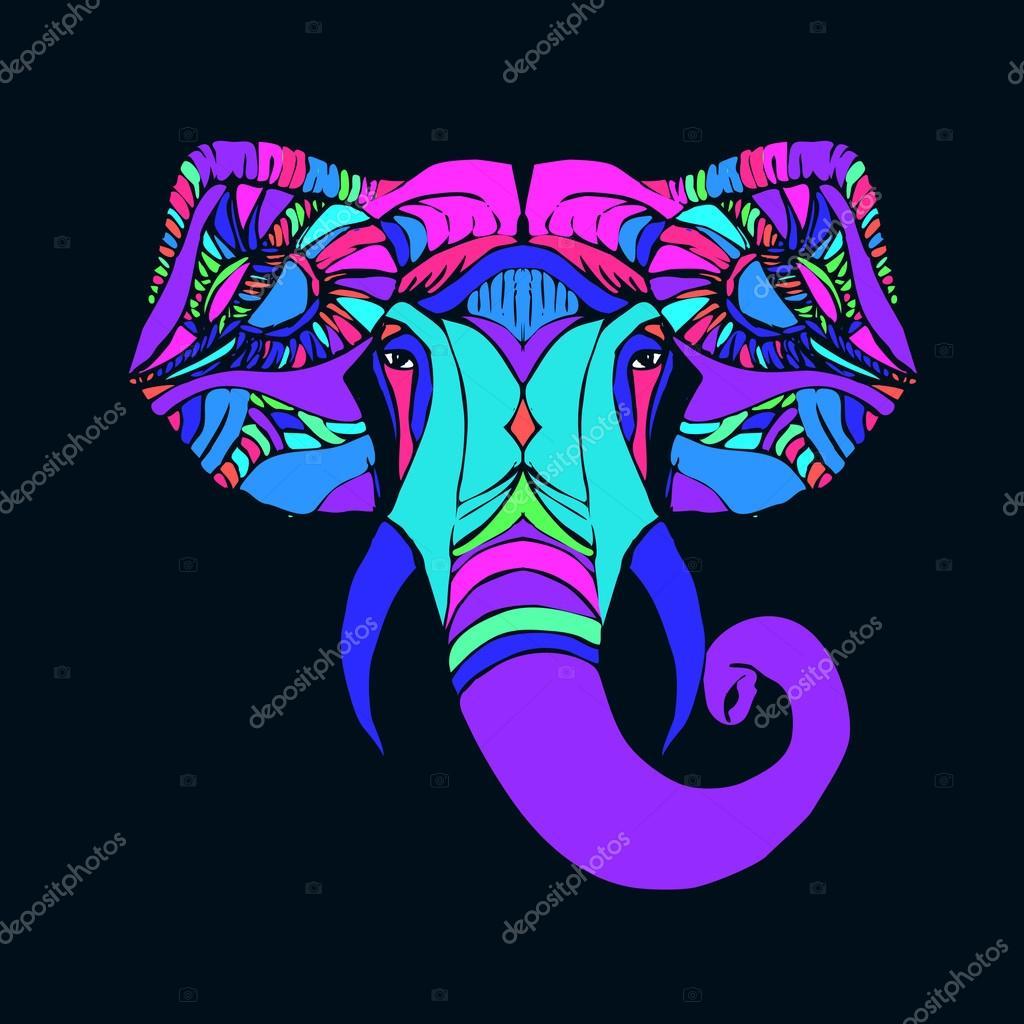 9893e8dd071e2 Mano dibuja la cabeza del elefante. Dios indio Señor Dios hindú Ganesha —  Vector de ...