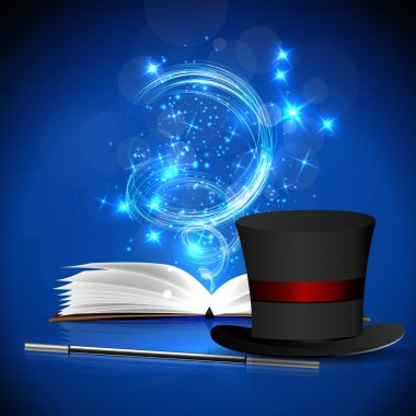 Open magic book, hat and wand