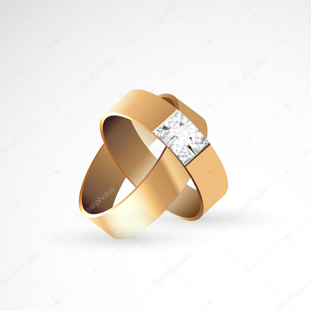 Konzept Der Hochzeit Engagement Zwei Ringe Stockvektor