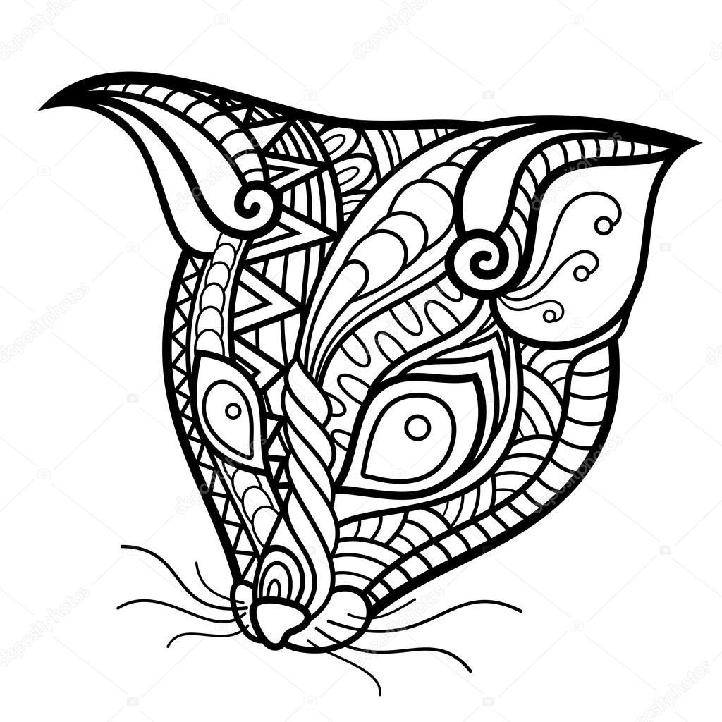 Vektor-Stammes dekorative Possum Kopf — Stockvektor ...