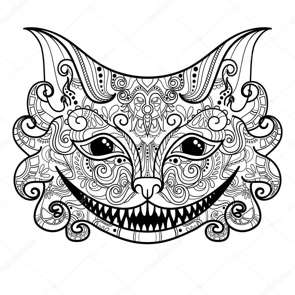 Vektorov 233 Dekorativn 237 Cheshire Cat Stock Vektor