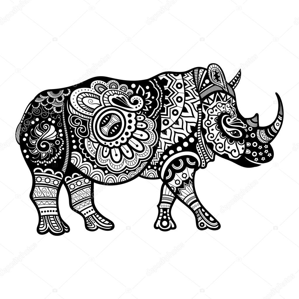 Vector Tribal Decorative Rhinoceros