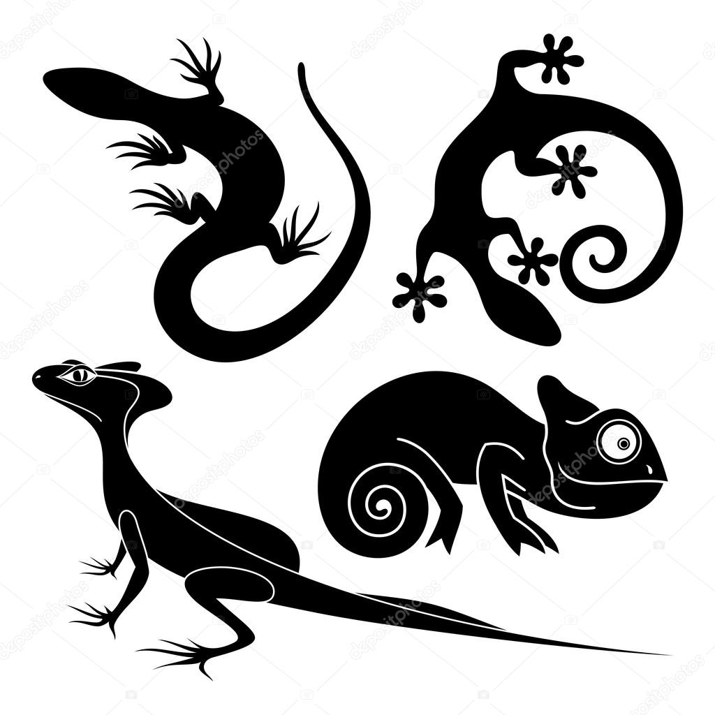 Vector Set Tribal Decorative Lizard