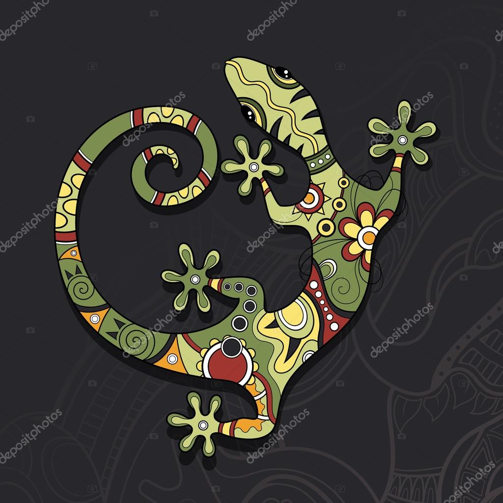 Vector Tribal Decorative Lizard