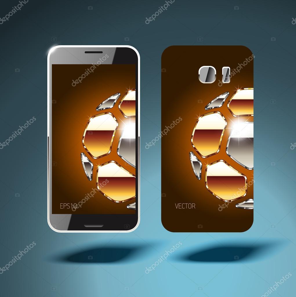 Golden soccer balls covers for smartphones