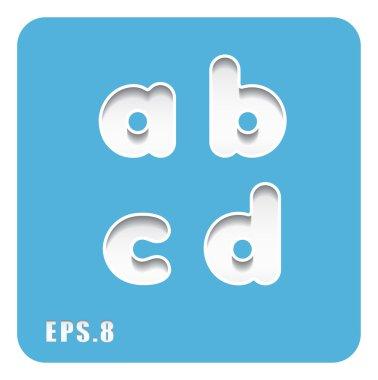 paper lowercase letters a, b, c, d