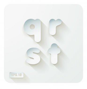 Lowercase letters q, r , s, t