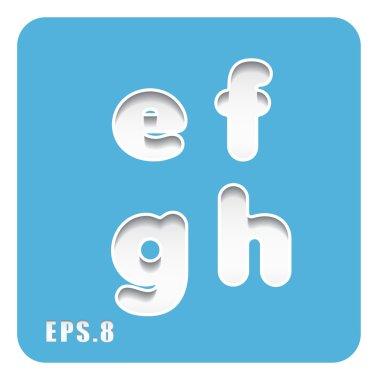 paper letters e, f, g, h