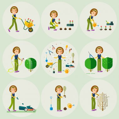 A set working in the garden. Trim bushes, plant, cut the grass, take, watering and rest. Cartoon character. stock vector