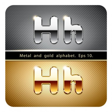 chrome metal and gold letter H