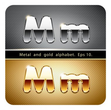 chrome metal and gold letter M