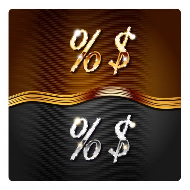 percent and dollar signs