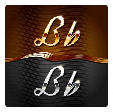 Golden stylish italic letters B