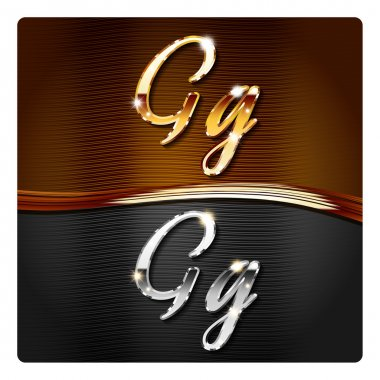 Golden stylish italic letters G