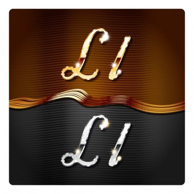 Golden stylish italic letters L