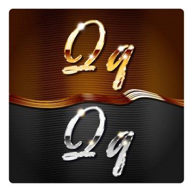 Golden stylish italic letters Q