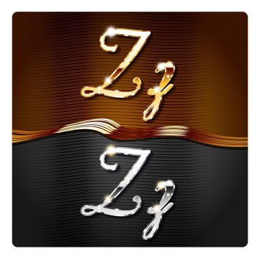 Golden stylish italic letters Z