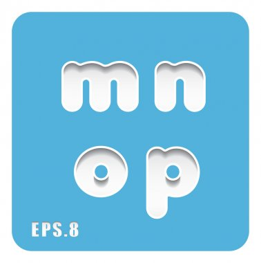 paper lowercase letters m, n, o, p