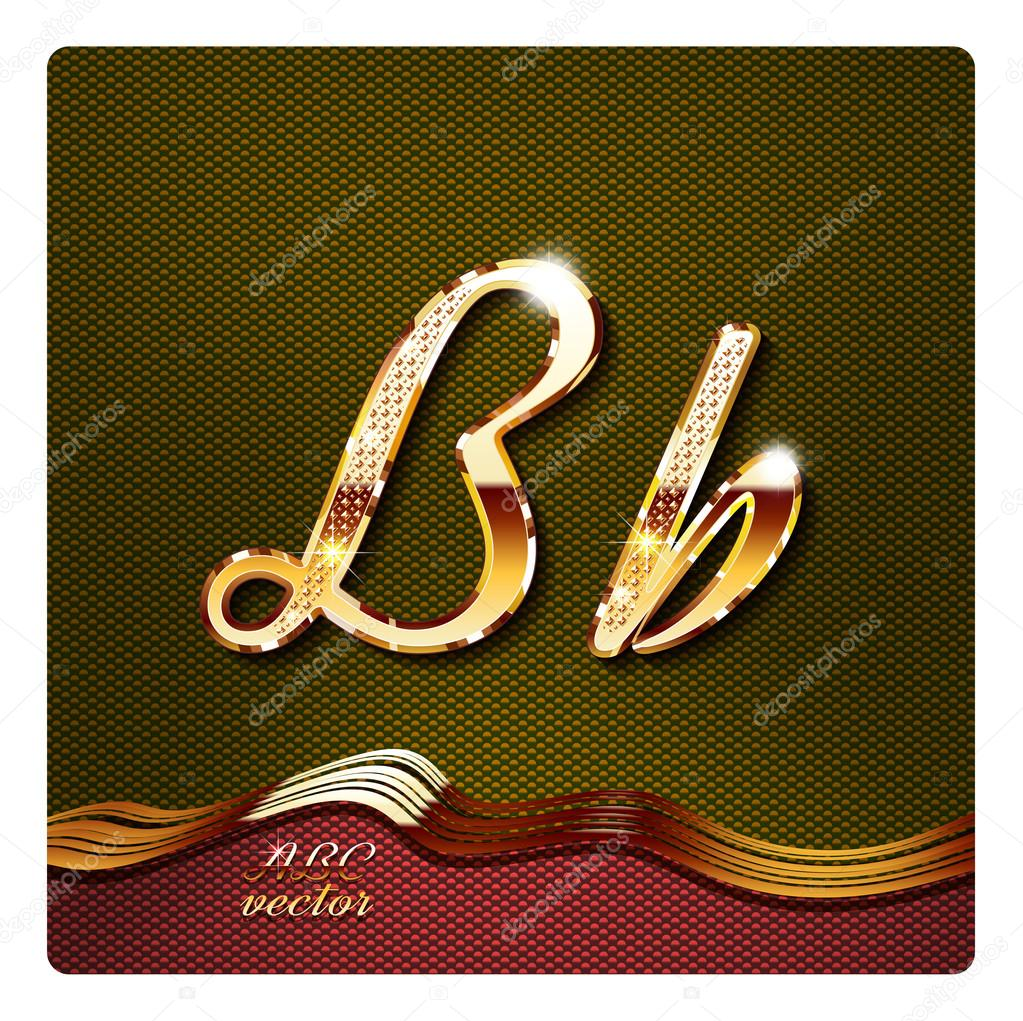 elegante oro letras cursivas b vector de stock mr master 73203109