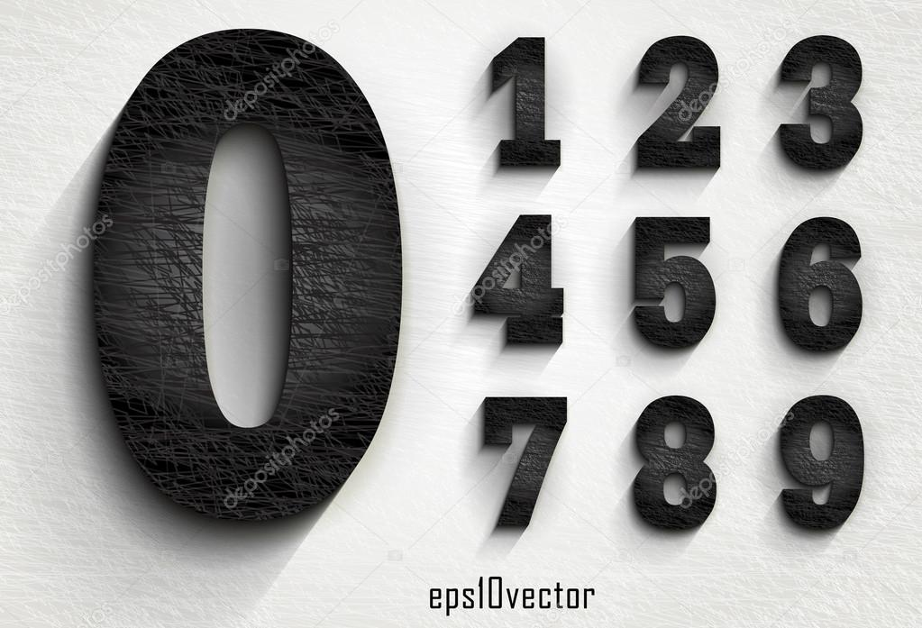 Stylish Black Squared Shabby Numerals Stock Vector Mrster