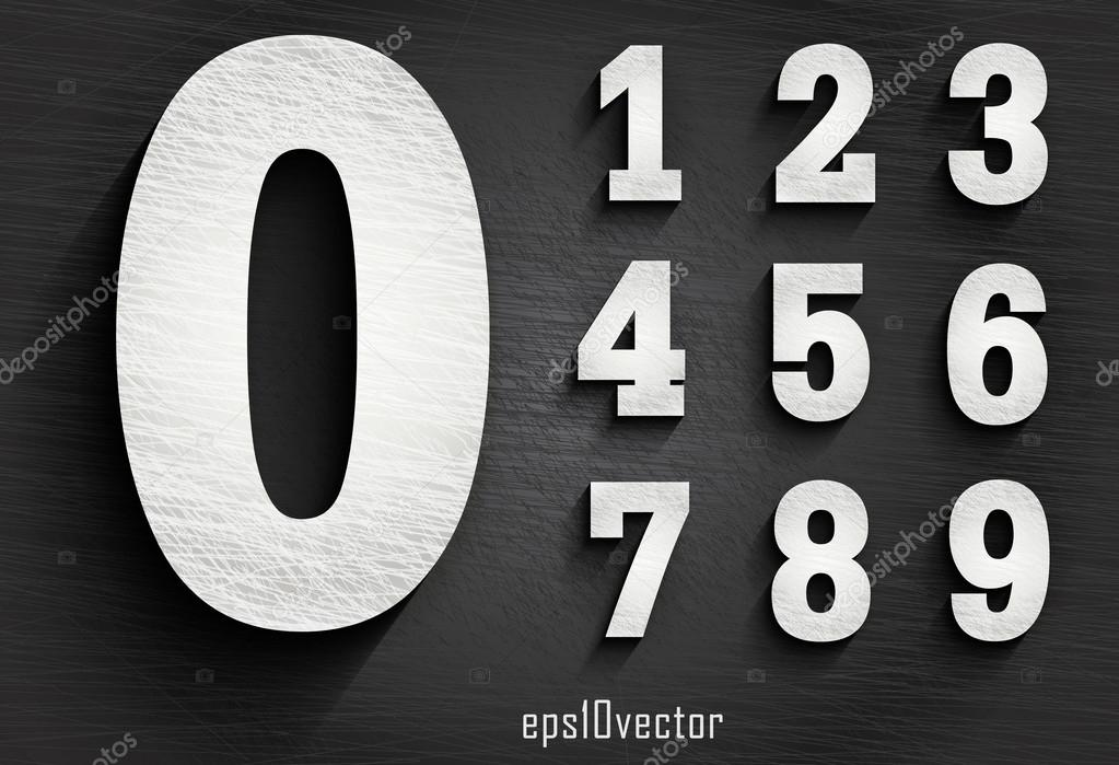 Stylish White Squared Shabby Numerals Stock Vector Mrster