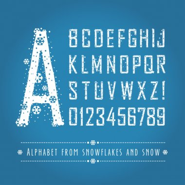 Alphabet letters and numbers from snowflakes