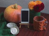 Podzimní šablony s dýní, jiřiny, formy